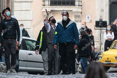 Tom Cruise on set during film shooting of 'Mission Impossible 7' in the streets of the Ghetto of Rome