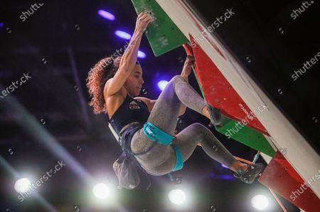 Third placed Molly Thompson-Smith of Great Britain competes during the women Lead final at the IFSC Climbing European Continental Championships in Moscow, Russia, 25 November 2020.