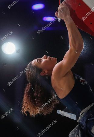 Stock Photo of Third placed Molly Thompson-Smith of Great Britain competes during the women Lead final at the IFSC Climbing European Continental Championships in Moscow, Russia, 25 November 2020.