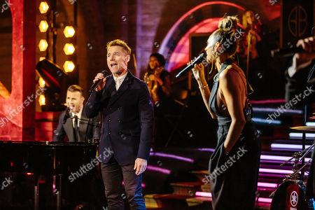 Gary Barlow, Ronan Keating and Alesha Dixon.