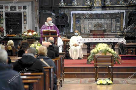 Editorial photo of Funeral of Beppe Modenese, Church of Santa Maria della Passione in via Consevatorio, Milan, Italy - 25 Nov 2020
