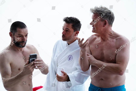 Fred Sirieix, Gino D'Acampo and Gordon Ramsay prepare to take a sauna