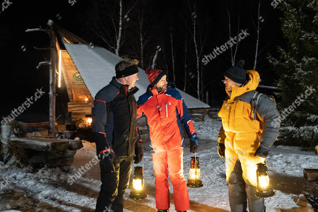 Gordon Ramsay, Fred Sirieix and Gino D'Acampo prepare to watch the Northern light