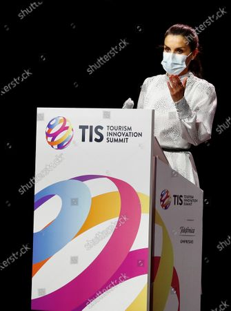 Queen Letizia of Spain speaks during the opening of the Tourism Innovation Summit 2020 (TIS) held at the Exhibition and Congress Palace in Seville, Spain, 25 November 2020.  The TIS is an international forum tat gathers Tourism industry to define strategies and give a coordinate response for the sector's recovery in 2021. According to the Spanish Royal Household, King Felipe VI was not able to attend the opening as he has to keep a ten day quarantine after being in contact with a coronavirus positive some days ago.