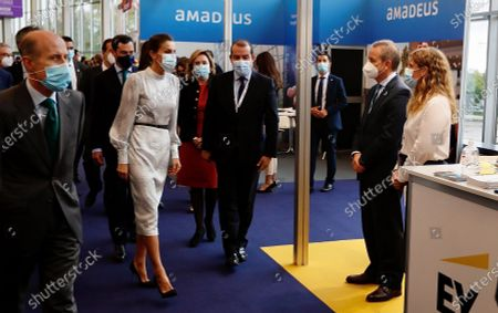 Queen Letizia of Spain (3L) attends the opening of the Tourism Innovation Summit 2020 (TIS) held at the Exhibition and Congress Palace in Seville, Spain, 25 November 2020. The TIS is an international forum tat gathers Tourism industry to define strategies and give a coordinate response for the sector's recovery in 2021. According to the Spanish Royal Household, King Felipe VI was not able to attend the opening as he has to keep a ten day quarantine after being in contact with a coronavirus positive some days ago.