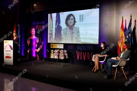 Spanish first Deputy Prime Minister, Carmen Calvo, attends via video-conference during the awarding ceremony held at the Ministry for Equality, on occasion of the International Day for the Elimination of Violence Against Women, in Madrid, Spain, 25 November 2020.