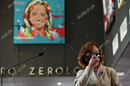 Spanish first Deputy Prime Minister, socialist Carmen Calvo, keeps a minute of silence held at the headquarters of the Soialist Party (PSOE), on occasion of the International Day for the Elimination of Violence Against Women, in Madrid, Spain, 25 November 2020.