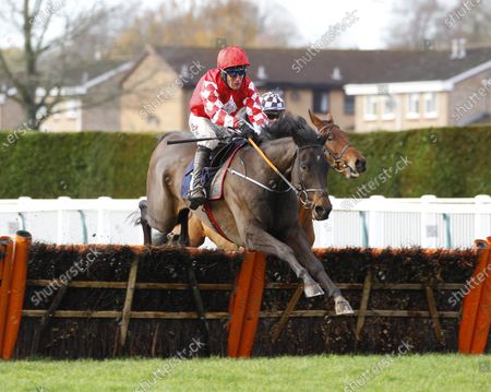 Stock Image of Fancy Foundations and Robbie Power jump the last to win the Dreams Come True at Old Gold Racing Novices' Hurdle at Hereford for trainer Gordon Elliott.