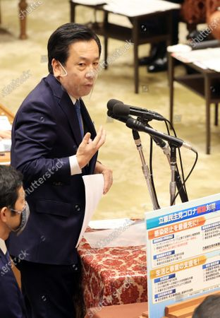 Japanese main opposition Constitutional Democratic Party of Japan leader Yukio Edano questions to Prime Minister Yoshihide Suga at Lower House's budget committee session at the National Diet in Tokyo on Wednesday, November 25, 2020.