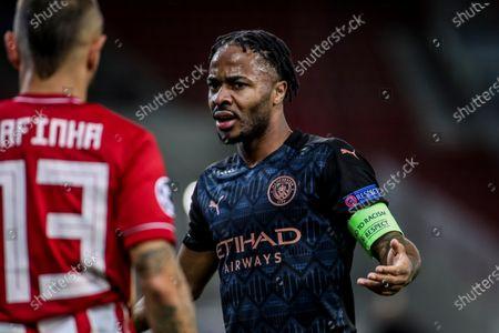Manchester City's Raheem Sterling react
