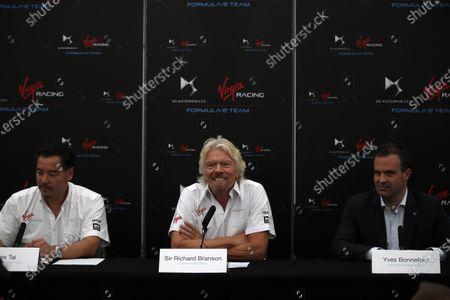 2014/2015 FIA Formula E Championship. London e-Prix, Battersea Park, London, UK. Saturday 27 June 2015. Sir Richard Branson, Alex Tai and Yves Bonnefont at the Virgin Racing and DS Automobiles Press Conference. World Copyright: Glenn Dunbar/LAT Photographic/Formula E.