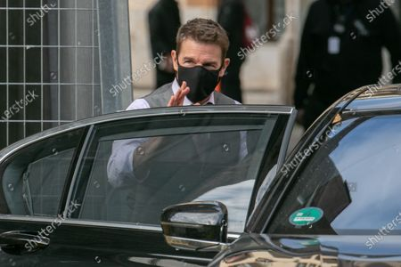 Tom Cruise on set filming Mission Impossible 7 Libra in the streets of Rome