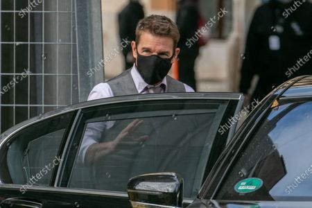Stock Picture of Tom Cruise on set filming Mission Impossible 7 Libra in the streets of Rome