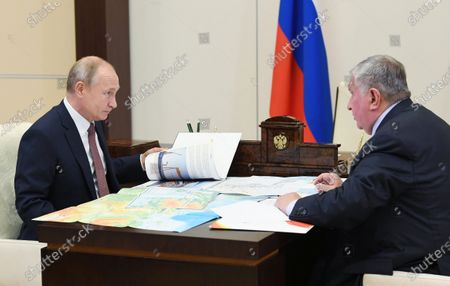 Stock Picture of Russian President Vladimir Putin (L) meets with Rosneft CEO Igor Sechin (R) at the Novo-Ogaryovo state residence outside Moscow, Russia, 25 November 2020.