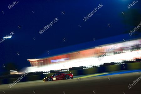 2015 24heures de Le Mans. Scuderia Corsa (Ferrari 458 Italia - GTE Am), William Sweedler, Townsend Bell, Jeffrey Segal.  Qualifying Evening Session. Circuit Des 24 Heures, Le Mans, France, Europe. Thursday 11 June 2015 Photo: Adam Warner/LAT/Formula E