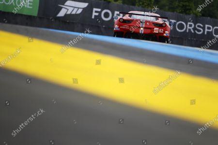 2015 24heures de Le Mans. Scuderia Corsa (Ferrari 458 Italia - GTE Am), William Sweedler, Townsend Bell, Jeffrey Segal.  Wednesday Testing.  Circuit Des 24 Heures, Le Mans, France, Europe. Wednesday 10 June 2015 Photo: Adam Warner/LAT/Formula E