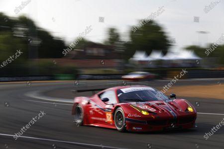 2015 Le Mans 24 Hours. Circuit de la Sarthe, Le Mans, France. Thursday 11 June 2015. Scuderia Corsa (Ferrari 458 Italia - GTE Am), William Sweedler, Townsend Bell, Jeffrey Segal.  Photo: Sam Bloxham/LAT Photographic.