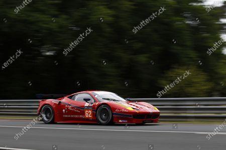 2015 Le Mans 24 Hours. Circuit de la Sarthe, Le Mans, France. Wednesday 10 June 2015. Scuderia Corsa (Ferrari 458 Italia - GTE Am), William Sweedler, Townsend Bell, Jeffrey Segal.  Photo: Sam Bloxham/LAT Photographic.