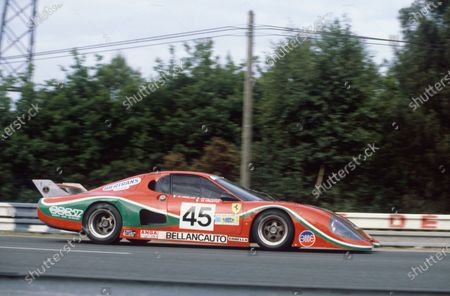 1981 Le Mans 24 Hours. Le Mans, France. 13th - 14th June 1981. Fabrizio Violati / Duilio Truffo / Maurizio Flammini (Ferrari 512 BB/LM), retired, action.  World Copyright: LAT Photographic. Ref: 81LM34.