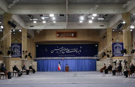 n's Supreme Leader Ayatollah Ali Khamenei, as he speaks during a meeting with Iranian government over the economic crisis in Tehran, while mask-clad due to the Covid-19 coronavirus pandemic.