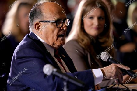Former Mayor of New York Rudy Giuliani, a lawyer for President Donald Trump, speaks at a hearing of the Pennsylvania State Senate Majority Policy Committee, in Gettysburg, Pa