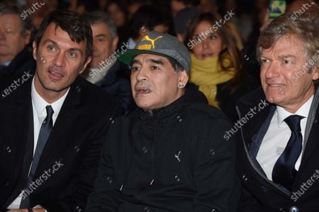 Diego Maradona with Paolo Maldini and Giancarlo Antognoni during VI edition of the Hall of Fame of Italian football, Florence Italy 17 Gen 2017