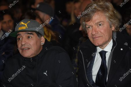 Diego Maradona with Giancarlo Antognoni during VI edition of the Hall of Fame of Italian football, Florence Italy 17 Gen 2017