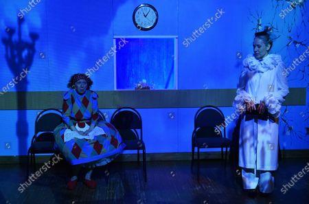 Stock Picture of Merited Artist of Ukraine Nataliia Karchkova (L) as Raia and Inna Ambroziieva as Veronika are pictured during the ... In Joy and Sorrow play premiere at the Luhansk Regional Academic Ukrainian Music and Drama Theatre, Sievierodonetsk, Luhansk Region, eastern Ukraine.
