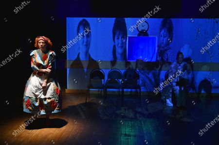 Merited Artist of Ukraine Nataliia Karchkova (L) as Raia and Inna Ambroziieva as Veronika are pictured during the ... In Joy and Sorrow play premiere at the Luhansk Regional Academic Ukrainian Music and Drama Theatre, Sievierodonetsk, Luhansk Region, eastern Ukraine.