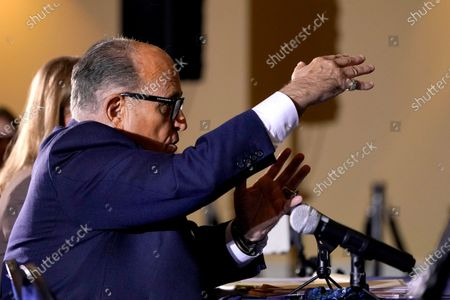 Rudy Giuliani speaks at a hearing of the Pennsylvania State Senate Majority Policy Committee, in Gettysburg, Pa