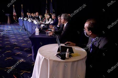 Members of the Pennsylvania State Senate Majority Policy Committee listen to Rudy Giuliani speak, in Gettysburg, Pa
