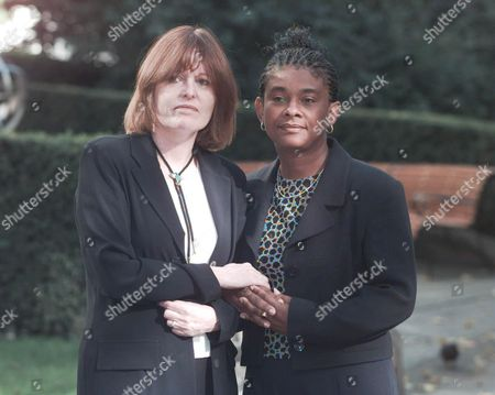 Mrs. Frances Lawrence Wife Of Murdered Head Teacher Philip (left) And Mrs Doreen Lawrence Mother Of Murdered Teenager Stephen Meeting For The First Time At The Woman Of The Year Lunch Savoy Hotel London. It Is Believed That Both Crimes Were Motivated By Racist Sentiment.