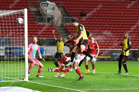 Craig Cathcart (15) of Watford heads his shot at goal wide of the post during the EFL Sky Bet Championship match between Bristol City and Watford at Ashton Gate, Bristol