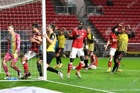 Watford players reacts after Craig Cathcart (15) of Watford after heading his shot at goal wide of the post during the EFL Sky Bet Championship match between Bristol City and Watford at Ashton Gate, Bristol