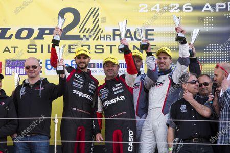 2015 Silverstone Dunlop Britcar 24 Hour. Silverstone, Northamptonshire. 24th - 26th April 2015. Podium. Class 2. First, #91 - Tom Onslow-Cole (GB)/Paul White (GB)/Ben Gersekowski (AUS)/Gary Jacobsen - Marc Cars Australia/Ryan McLeon, GTE, MARC Focus V8, Second, #17 - Nigel Pike (GB)/Paul Black (GB)/Joachim Bolting (GB) - Topcats, GTC, Marcos Mantis, Third, #15 - Paul Stephens (GB)/Gerry Taylor (GB)/Owen O'Neal (GB)/Neil Huggins (GB) - Topcats, GT3, Marcos Mantis.  World Copyright: Zak Mauger/LAT Photographic.