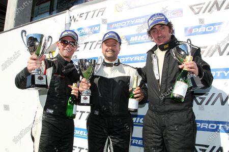 2015 Ginetta GT5 Challenge, Spa Francorchamps, Belgium. 10th - 11th July 2015. Race 1 GRDC Podium (l-r) Ben Hyland (GBR) Ginetta G40, Charles Ferguson (GBR) Ginetta G40, Rob Keogh (GBR) Ginetta G40. World Copyright: Ebrey / LAT Photographic.