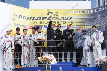 2015 Silverstone Dunlop Britcar 24 Hour. Silverstone, Northamptonshire. 24th - 26th April 2015. Podium. Class 1. First, #10 - Laurence Wiltshire (GB)/Chanin Nouri (SW)/Martyn Smith (GB)/Richard Roberts (GB) - Radical Sportscars, LMPX, Radical RXC V8, Second, #12 - Lawrence Tomlinson (GB)/Mike Simpson (GB)/Sir Chris Hoy (SCO)/Charlie Robertson (GB)/Caetan Paletou - Team LNT, LMP3, Ginetta LMP3, Third, #8 - Sam Mowle/Frank Pelle/Peter Cook/Adam Sharpe - Colin Mowle, Audi R8.  World Copyright: Zak Mauger/LAT Photographic.
