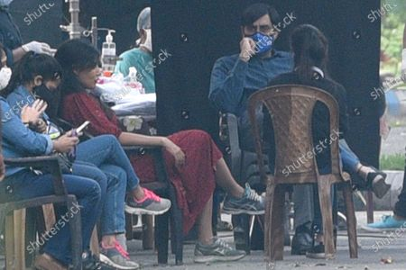 Bollywood actors Abhishek Bachchan and Chitrangada Singh spotted while shooting for the Hindi film 'Bob Biswas', directed by Diya Annapurna Ghosh, at Panchasayar   on November 25, 2020 in Kolkata, India.
