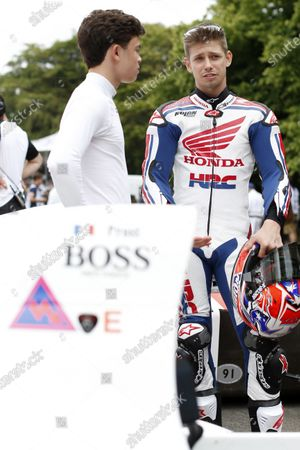 2015 Goodwood Festival of Speed Goodwood Estate, West Sussex, England. 25th - 28th June 2015. Casey Stoner, Honda RC213V, with Nyck de Vries, McLaren-Honda MP4/5. World Copyright: Alastair Staley/LAT Photographic