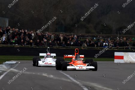 2015 73rd Members Meeting  Goodwood Estate, West Sussex, England 21st - 22nd March 2015 High Airbox F1 Cars Hesketh 308 James Hagan McLaren M23 Greg Galdi World Copyright: Jeff Bloxham/LAT Photographic