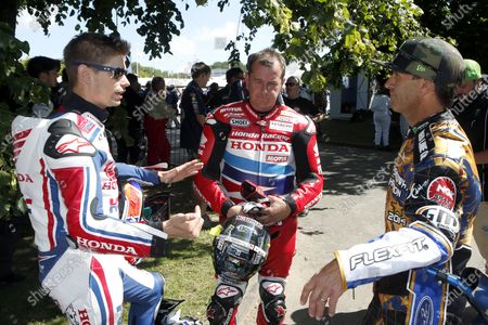 2015 Goodwood Festival of Speed. Goodwood Estate, West Sussex, England. 25th - 28th June 2015. Casey Stoner, John McGuiness, and Greg Hancock. World Copyright: Gary Hawkins/LAT Photographic