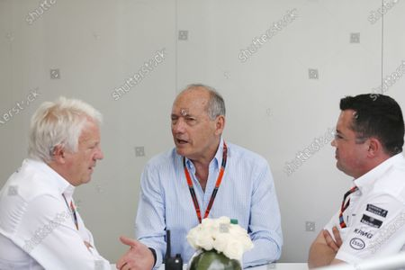 Circuit Gilles Villeneuve, Montreal, Canada. Friday 05 June 2015. Ron Dennis, Executive Chairman, McLaren Automotive, with Charlie Whiting, Race Director, FIA, and Eric Boullier, Racing Director, McLaren. World Copyright: Alastair Staley/LAT Photographic.