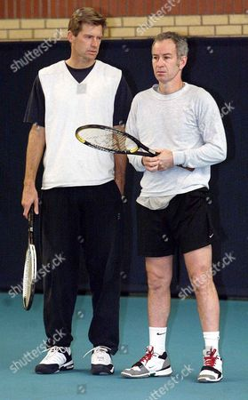 Tennis Players John Mcenroe And Peter Fleming Host A Coaching Session At Queens Club As Part Of A Rolling Programme Set Up By The Lta.