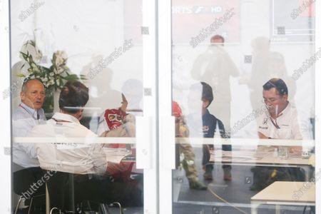 Circuit Gilles Villeneuve, Montreal, Canada. Friday 5 June 2015. Ron Dennis, Executive Chairman, McLaren Automotive, Toto Wolff, Executive Director (Business), Mercedes AMG, Mauricio Arrivabene, Team Principal, Ferrari, Christian Horner, Team Principal, Red Bull Racing and Eric Boullier, Racing Director, McLaren meet in the paddock. World Copyright: Alastair Staley/LAT Photographic.