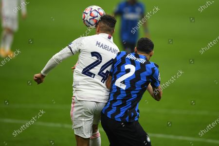 Mariano Diaz Mejia (Real Madrid) Achraf Hakimi (Inter) during the Uefa Champions League match between Inter 0-2 Real Madrid at Giuseppe Meazza Stadium in Milano, Italy.