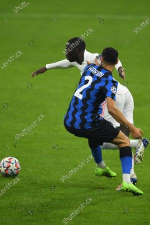 Ferland Mendy (Real Madrid) Achraf Hakimi (Inter) during the Uefa Champions League match between Inter 0-2 Real Madrid at Giuseppe Meazza Stadium in Milano, Italy.