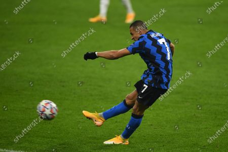 Stock Photo of Alexis Sanchez (Inter) during the Uefa Champions League match between Inter 0-2 Real Madrid at Giuseppe Meazza Stadium in Milano, Italy.