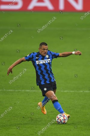 Stock Image of Alexis Sanchez (Inter) during the Uefa Champions League match between Inter 0-2 Real Madrid at Giuseppe Meazza Stadium in Milano, Italy.
