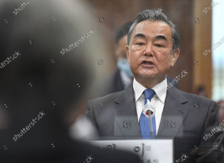 Chinese Foreign Minister Wang Yi (R) talks with South Korean Foreign Minister Kang Kyung-wha (L) during their meeting at the foreign ministry in Seoul, South Korea, 26 November 2020. Chinese Foreign Minister Wang Yi is in South Korea for a three-day state visit to discuss bilateral high-level exchanges, the situations on the Korean Peninsula and in the region.