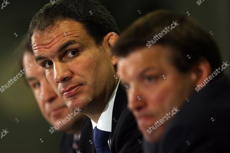 England Rugby Union Press Conference At Twickenham - Martin Johnson (c) The New England Mananger Pictured With Francis Baron (l) And Rob Andrew (r).